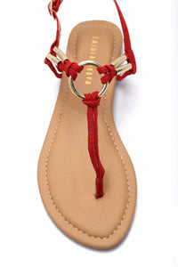 Ringing In Flat Sandal - Red