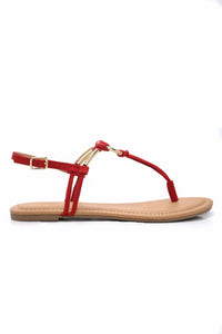 Ringing In Flat Sandal - Red Angle 2