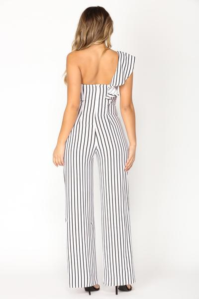 Straight Line Stripe Jumpsuit - Ivory