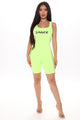 Sinner Biker Short Romper - Neon Yellow