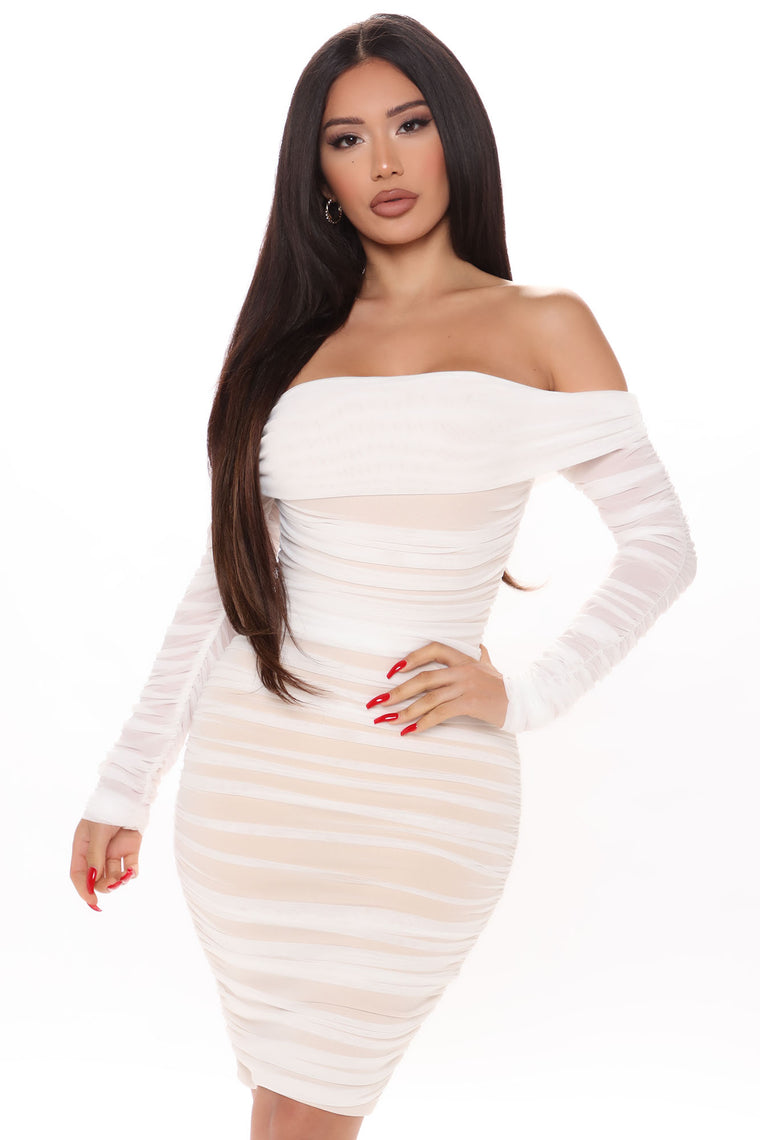 Ready In A Ruched Off Shoulder Midi Dress - White