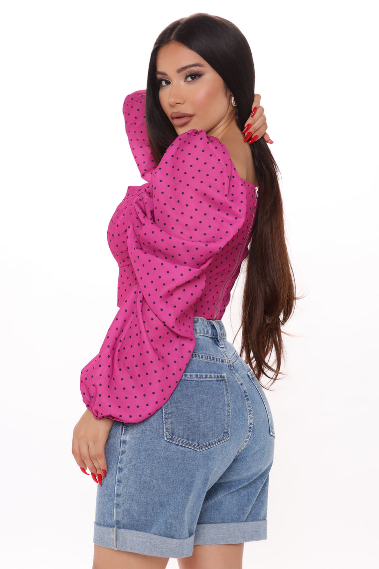 To The One And Only Polka Dot Blouse - Fuchsia