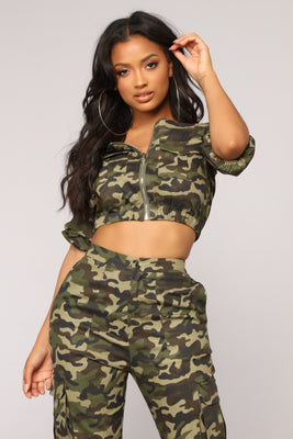 50731eb7a9db7 Places To Go Off Shoulder Top - Olive Camo