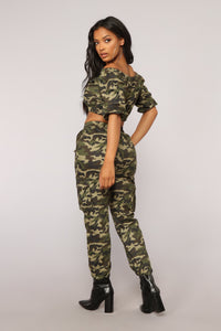 Places To Go Off Shoulder Top - Olive Camo
