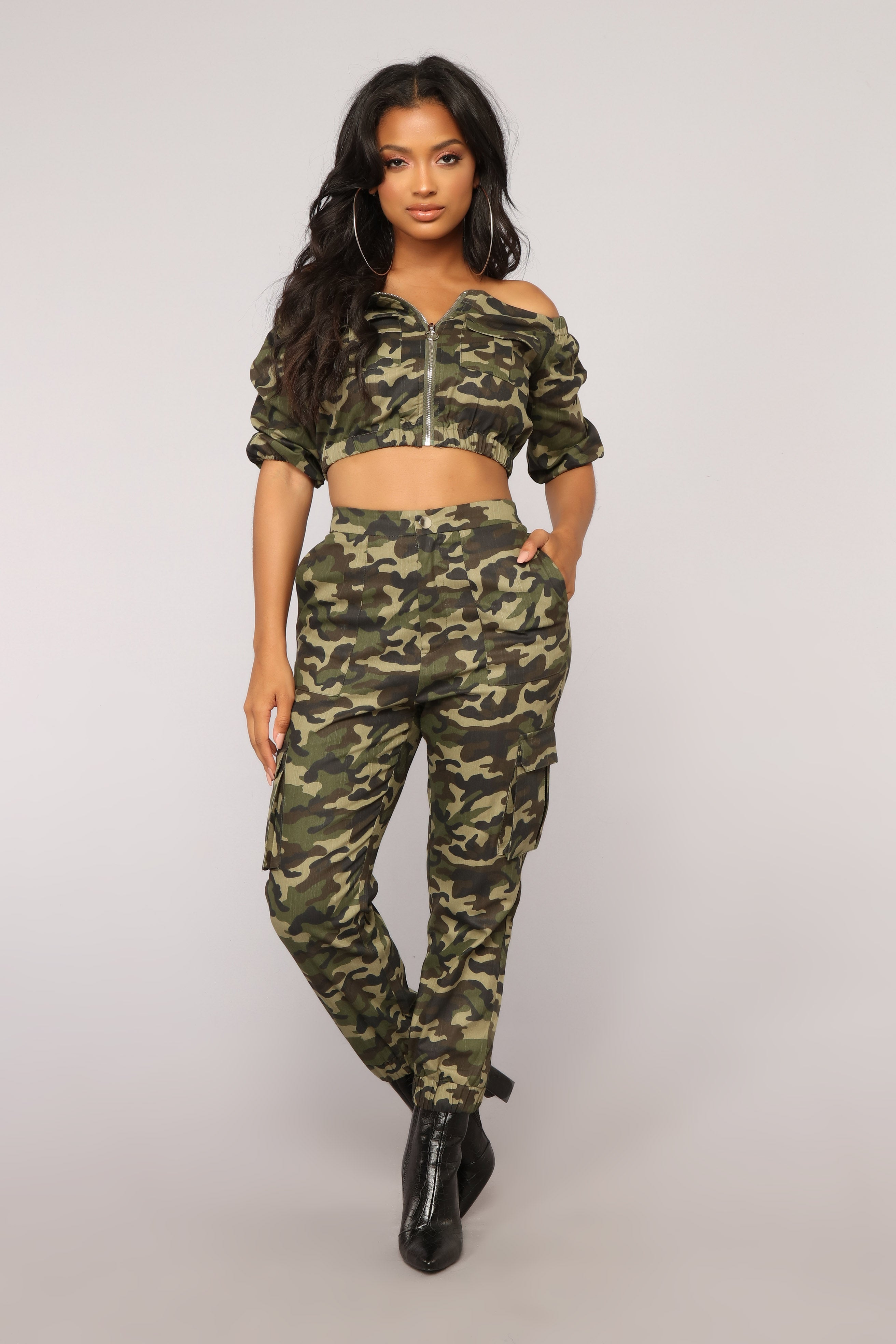 f153bbaed310ce Places To Go Off Shoulder Top - Olive Camo