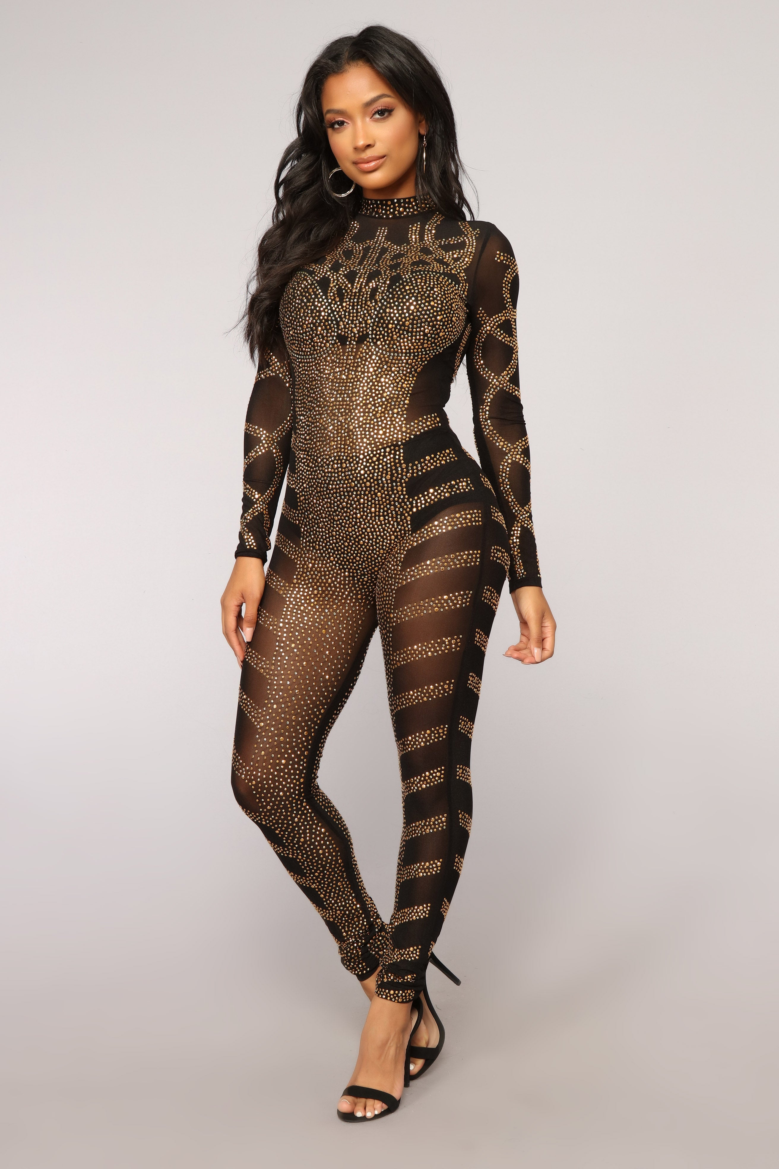 13d017e23257 Doing The Most Studded Jumpsuit - Black Gold