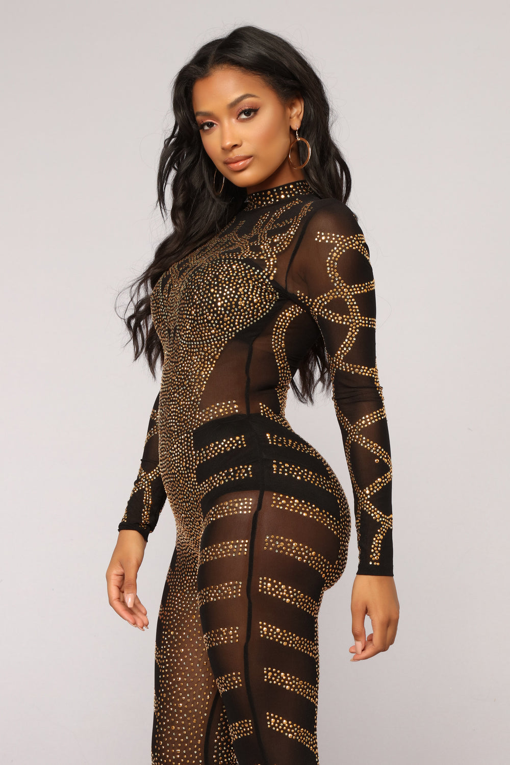 Doing The Most Studded Jumpsuit - Black/Gold