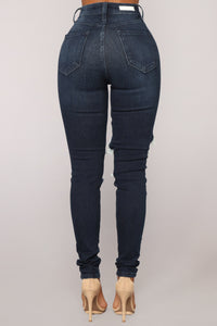 Aubrey High Rise Distressed Jeans - Dark Denim