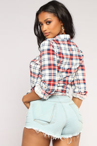 Soul Mate Collared Plaid Top - Navy/Red
