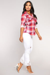 Lounge Lover Plum Plaid Top - Plum/Pink