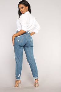 Love Me Forever Boyfriend Jeans - Medium Blue Wash