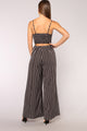 Social Networking Stripe Jumpsuit - Black/White