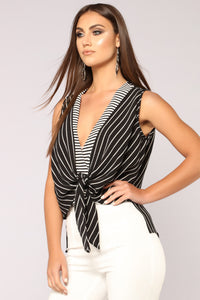 More Than Just Stripes Top - Black/White