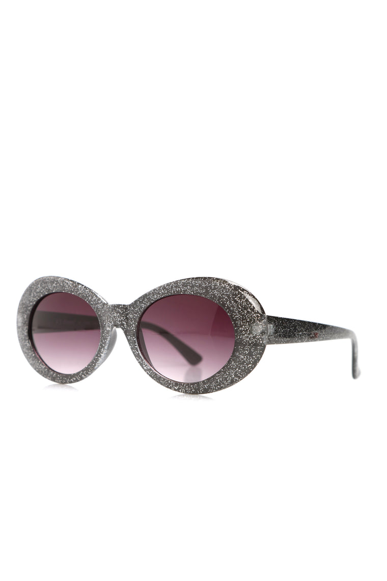 Retro Chic Sunglasses - Black Glitter