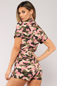 At Ease Romper - Pink Camo