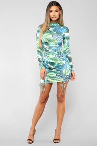 Kapolei Ruched Dress - Blue/Green