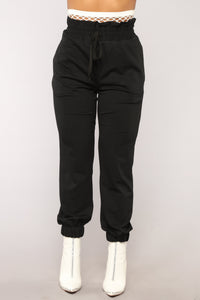 Out From Under Fishnet Joggers - Black