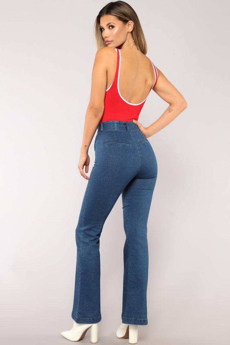 Walk The Talk Bodysuit - Red/combo
