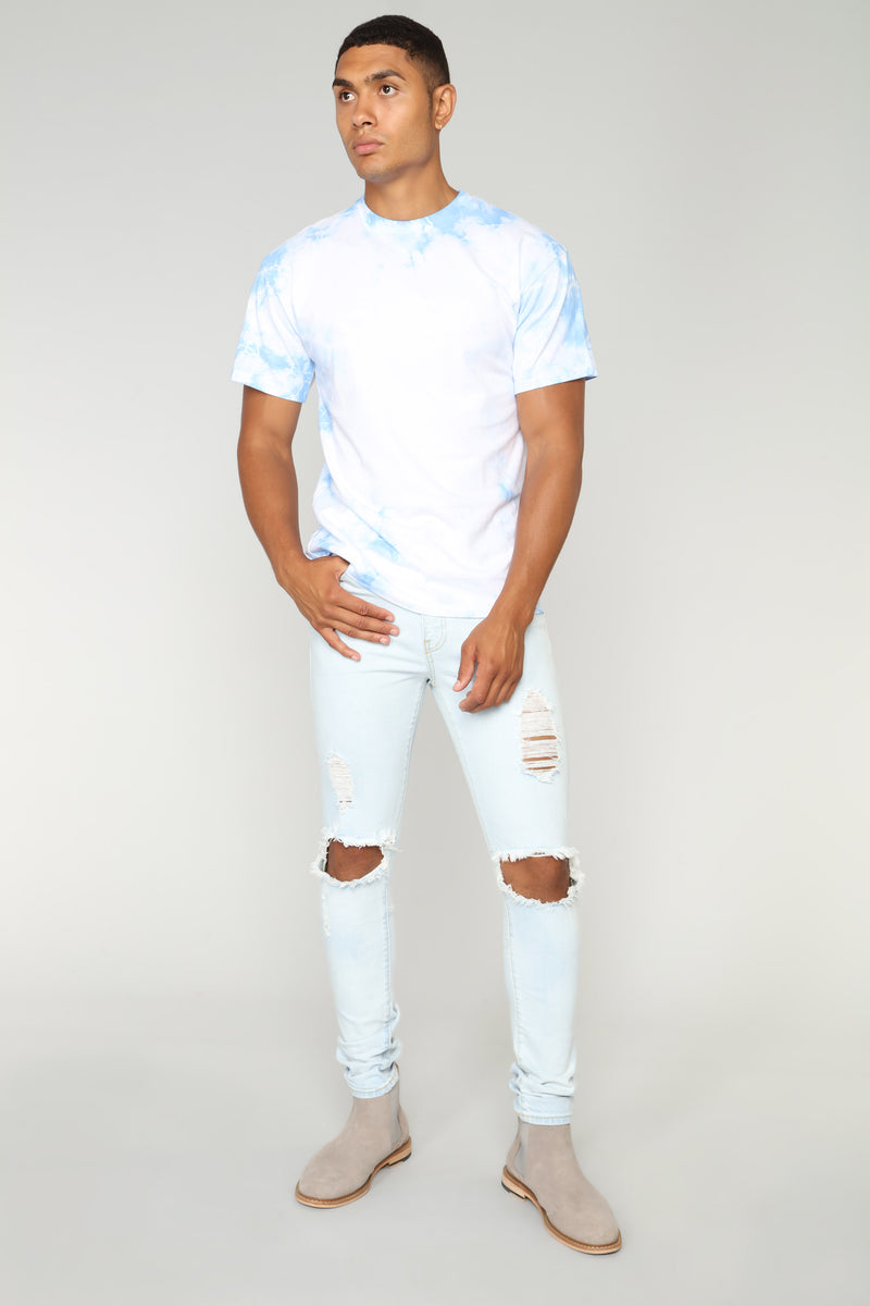 Clouded Short Sleeve Tee - Light blue