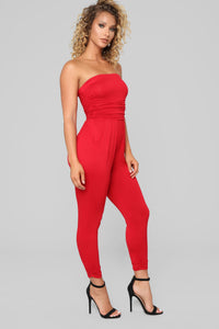 Isabelle Tube Jumpsuit - Red