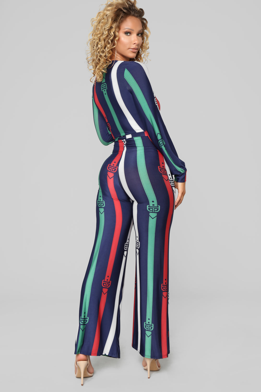 Belt It Out Jumpsuit - Navy/Multi