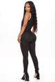 Sporty Spice Slit Leg Jumpsuit - Black