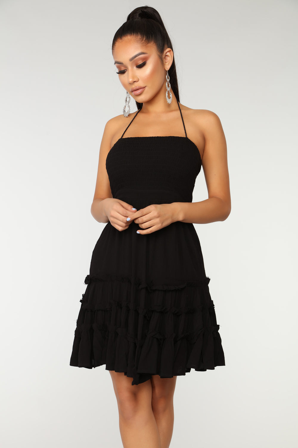 Feeling Flirty Gauze Dress - Black