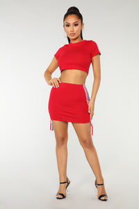 Breanne Athleisure Skirt Set - Red