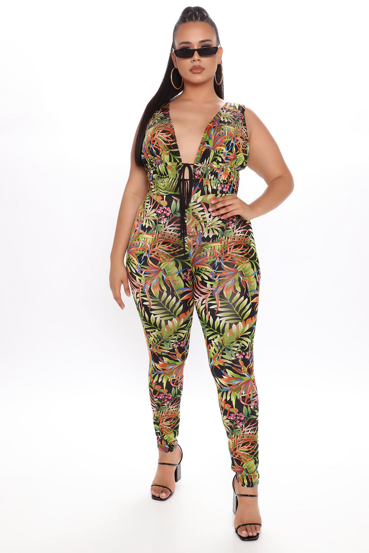 Think About It Tomorrow Tropical Jumpsuit - Black
