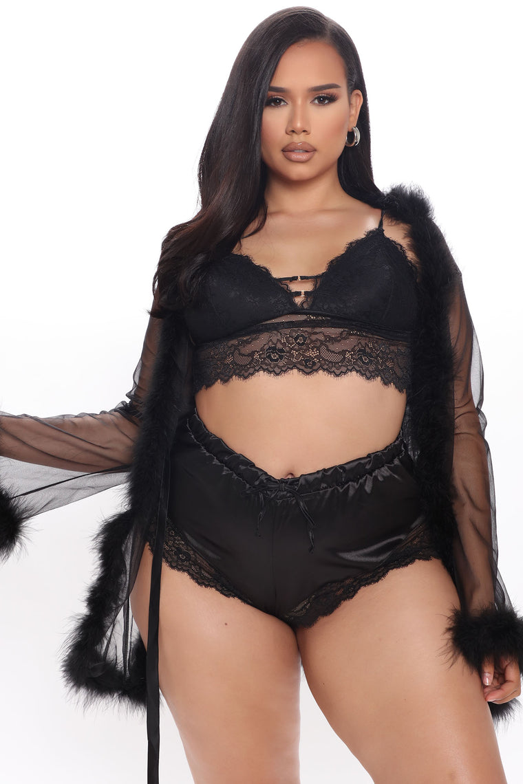 Softest Touch Fluff Mesh Robe - Black