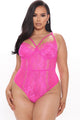 Somebody To Love Lace Teddy - Neon Magenta