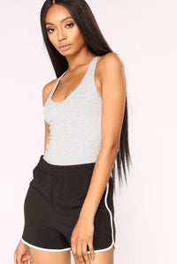 Zoey Racer Back Bodysuit - Heather Grey Angle 1