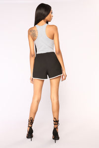 Zoey Racer Back Bodysuit - Heather Grey Angle 5