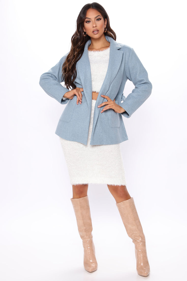 What Will It Be Belted Coat - Light Blue