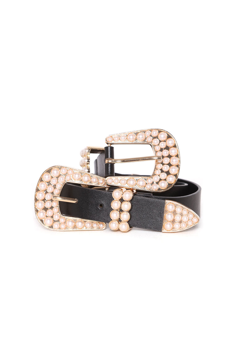 Fashionably Late Pearl Belt - Black