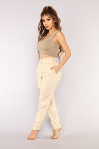 In The Moment Belted Pants - Khaki