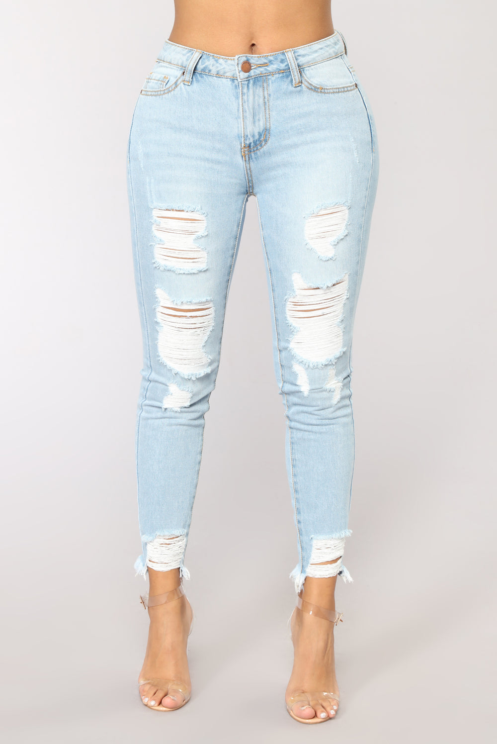 Dear Mamma Distressed Ankle Jeans - Light Blue Wash