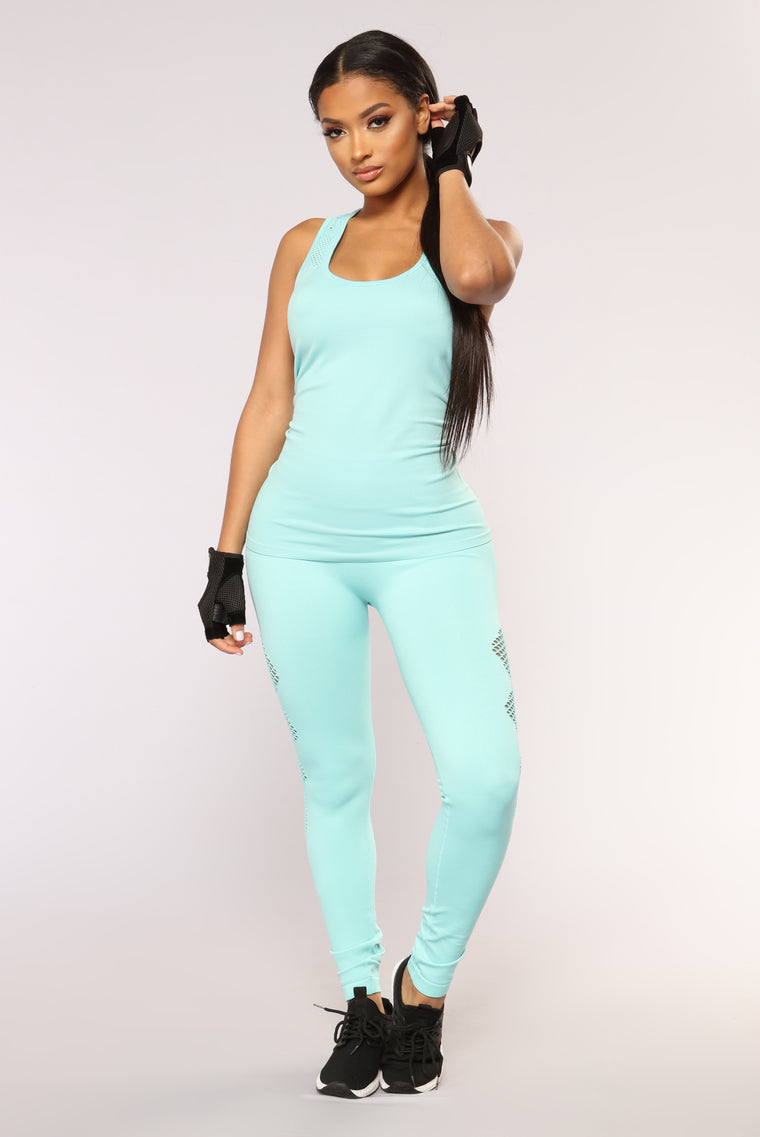 Try Me Out Seamless Active Top - Turquoise
