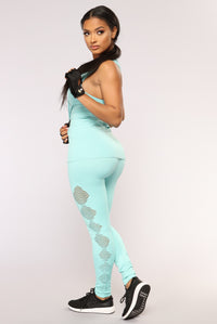 Runnin Around Seamless Active Leggings - Turquoise