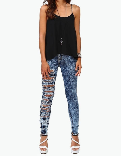 One Leg Ripped Jeans - Dark Wash