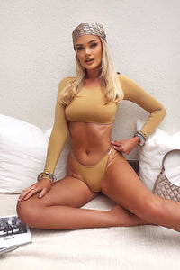 Athens Long Sleeve PVC 2 Piece Bikini  - Tan Angle 1