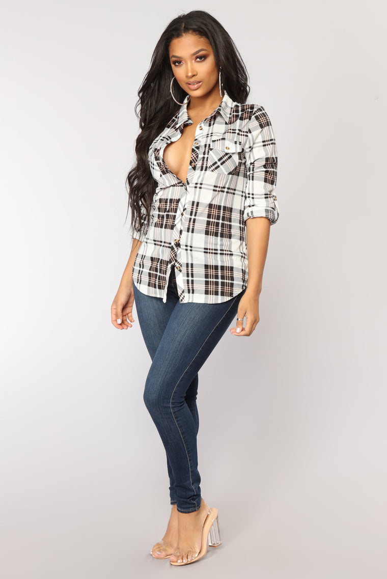 Soul Mate Plaid Top - Black/Pink