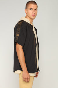 Robby Short Sleeve Woven Top - Black