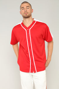 Robby Short Sleeve Woven Top - Red