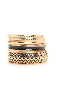 Etching For Something Sweet Bangle Set - Gold/Black