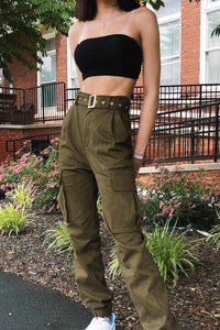 Belt It Out Cargo Joggers - Olive Angle 1