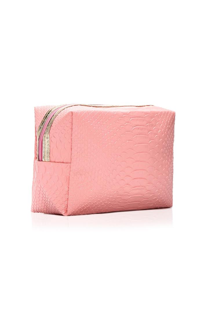 In A While Crocodile Beauty Bag - Pink