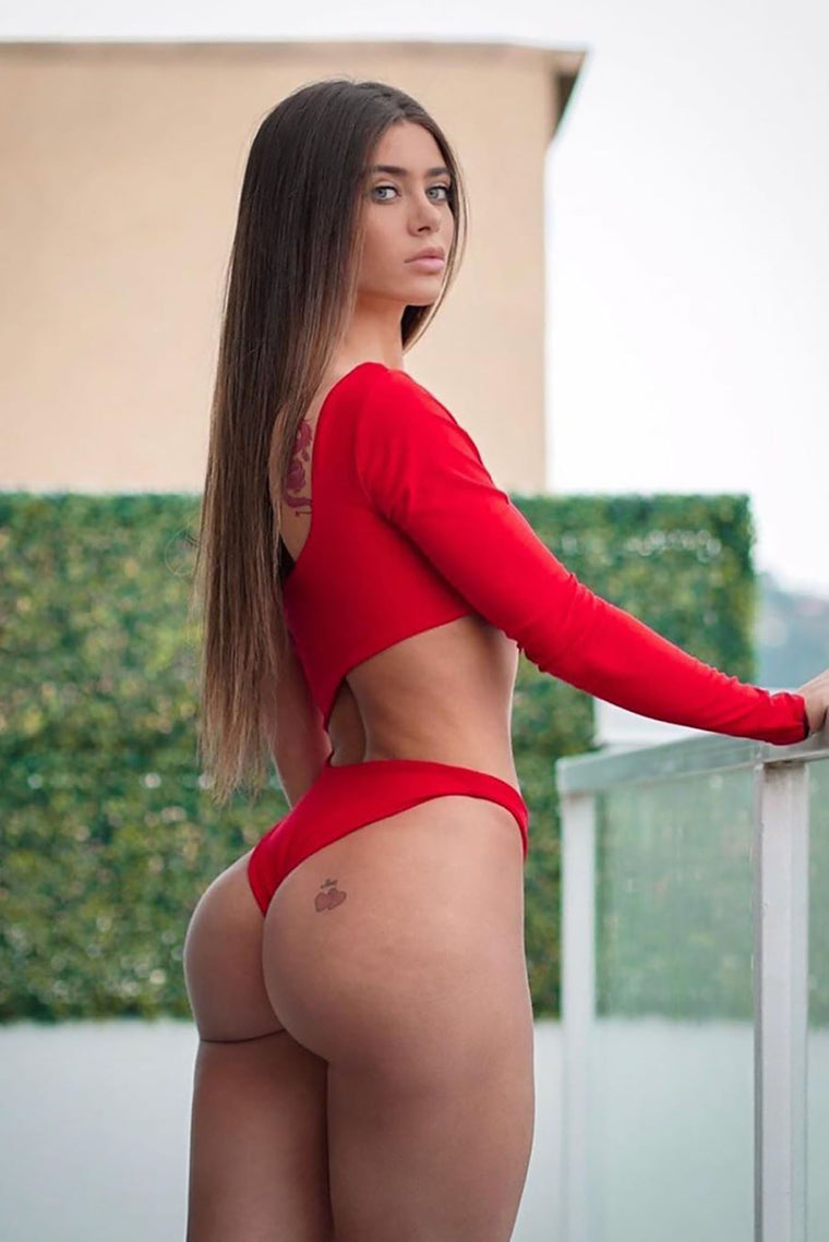 Cutting You Off Long Sleeve Bodysuit - Red