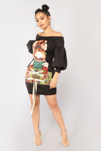 Kristine Graphic Tunic - Black