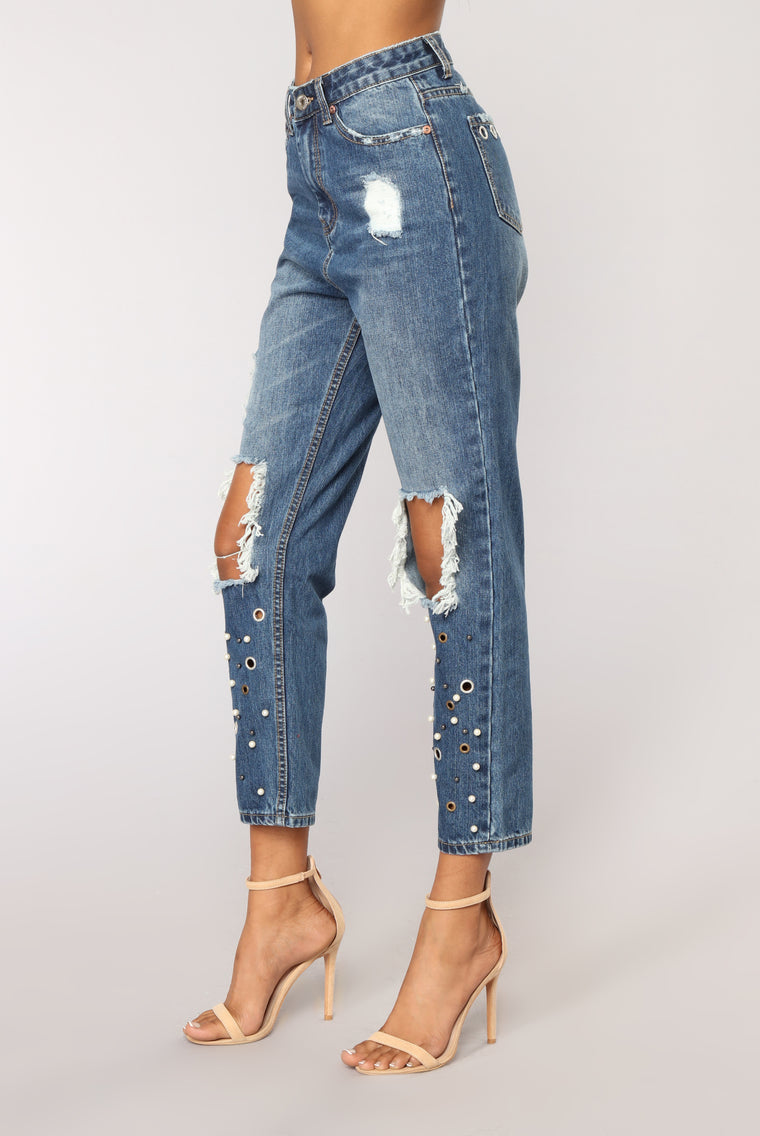 All In The Details Distressed Ankle Jeans - Dark Wash